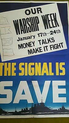 ORIGINAL ROYAL NAVY Fleet WWII savings bond Poster very rare