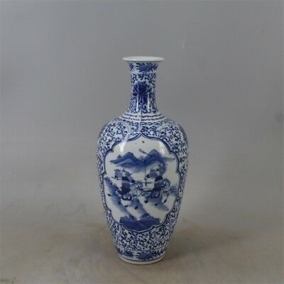 Chinese Old Marked Blue and White Character Story Pattern Porcelain Vase