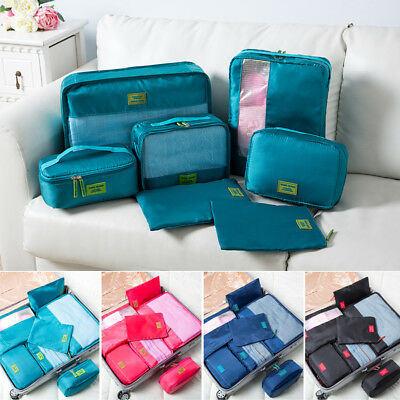 7PCS Travel Packing Cubes Storage Bag Clothes Luggage Organizer Packing Bags