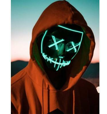 Light Up LED Smiling Stitched El Wire Edm Purge Mask Halloween Rave Cosplay