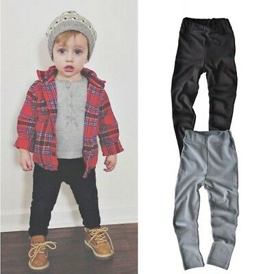 Child Toddler Kids Boys Girls Long Pants Solid Trousers Soft Cotton Tight Pants