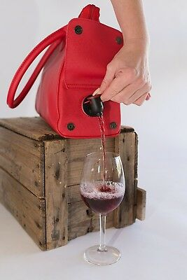 Wine Bottle Insulated Cooler Bag Tote Carrier Purse Handbag Red