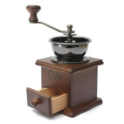 New Classic Manual Coffe Machine Grinder Coffee Mill Vintage Wooden Hand Crank