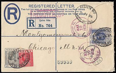 Nigeria to USA 3d. Registered Stationery envelope, up-rated. E1575