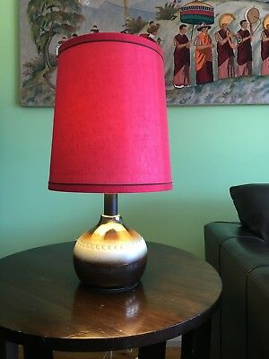 Mid Century Funky Ceramic Red Shade With Brown & Cream Base Lamp