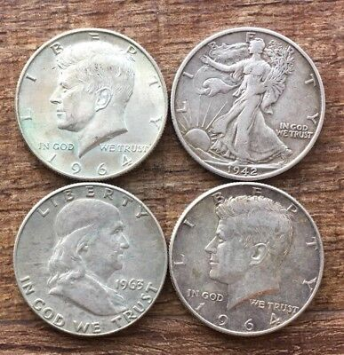 Four US Silver Half Dollars