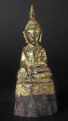 Antique 19th Century Thai, Lanna Lacquered and Gilded Wooden Buddha Statue