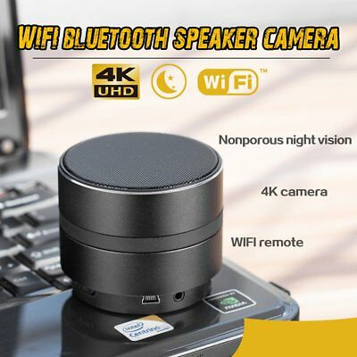 4K Hidden Camera 1080P HD WIFI Spy Nanny Cam Bluetooth Speaker Wireless IR Night