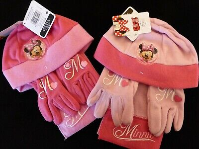 Disney Minnie Mouse Girls Fleece Hat, Scarf & Gloves Set = 2 Pink Variations !!