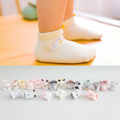 EP_ 5 Pairs Cartoon Animal Infant Baby Kids Mesh Breathable Cotton Socks Set Del