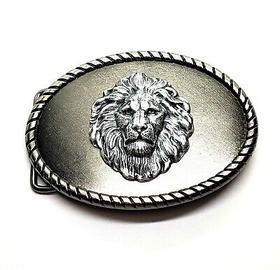 Handmade Oxidized Silver Brass Steampunk Lion Belt Buckle