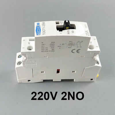 TOCT1 25A 2NO 220V Din rail Household ac contactor With Manual Control Switch