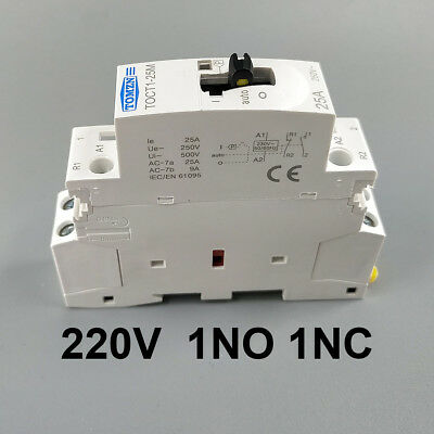 2P 25A 1NO 1NC  220V Din rail Household ac contactor With Manual Control Switch