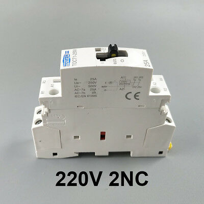 TOCT1 25A 2NC 220V Din rail Household ac contactor With Manual Control Switch