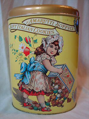 """Vintage 7.5"""" Tall Oval AMARETTI SOFFICI Italian Macarons Collector's Cookie Tin"""