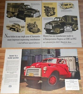 1952 GMC PRINT AD Lot of 2 ~ Gas and Diesel Engines Work Trucks  - 1953 Models