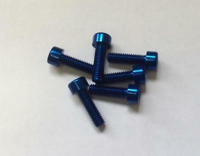 Pack of 6 Blue Anodised Aluminium Bolts M6 x 30mm Alloy Screw Bolt