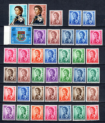 Hong Kong China 1961-1962 Qeii Selection Of Mnh Stamps Unmounted Mint