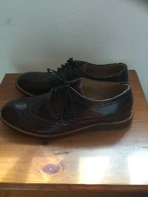 New Rrp £99 Crew Clothing Burgundy Leather Brogue Shoes Size:4 Euro:37