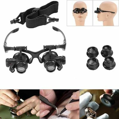 Headband Headset Jeweler Magnifier Magnifying Glass Loupe For Watch Repair FK