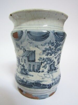 Blue and White Tin Glazed Earthenware faience Drug Jar Dated 1713