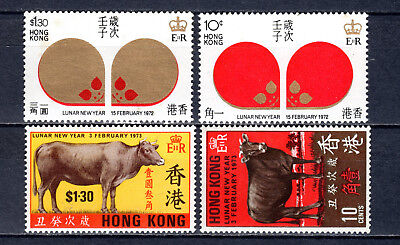 Hong Kong China 1972-1973 Qeii New Year Sets Of Mnh Stamps Unmounted Mint