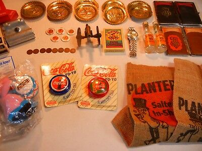 Junk Drawer Lot- Coins-Encased Coins-Watch-Mr. Peanut Bags-Old Whiskey Bottles