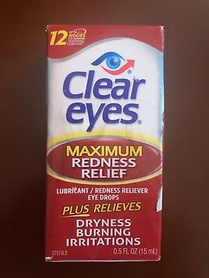 3 PACK Clear Eyes Maximum Redness Relief Eye Drops 0.5 oz each, EXP. 07/2019+