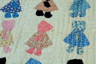 Antique SOUTHERN Hand Made Girl in Bonnet Quilt Great Condition Feed Sack NR !!