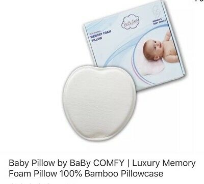 Baby Pillow by BaBy COMFY | Luxury Memory Foam Pillow 100% Bamboo Pillowcase
