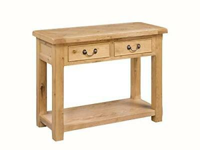 Connell Light Oak Rustic 2 Drawer Console Hallway Lamp Entrance Table with Shelf