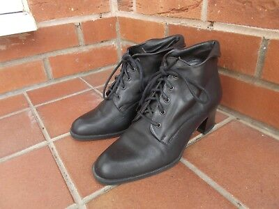 Black Leather Lace Up Ankle Boots * 4 uk * GOTH * STEAM PUNK * VICTORIAN