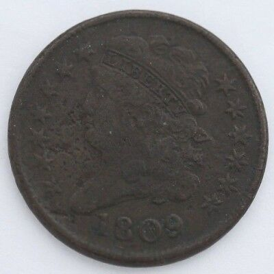 1809 You Grade Classic Head Liberty Better Year 1/2C Half Cent Coin