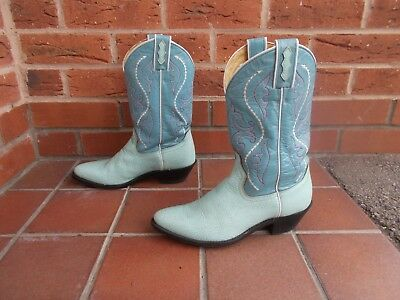 NO FRONTERA 2 Tone Blue Leather Cowboy Boots * s5  uk *  MADE IN MEXICO