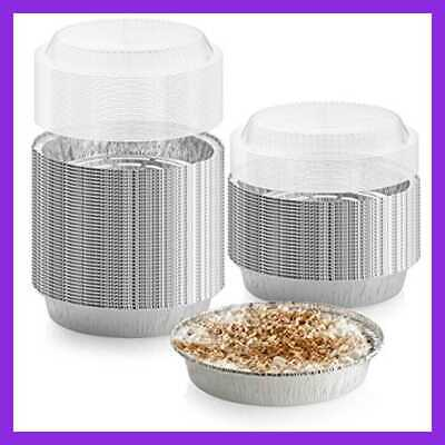 """40 Pack Of 9"""" Round Foil Pans W Dome Lids Disposable Aluminum Cake Trays Freezer"""