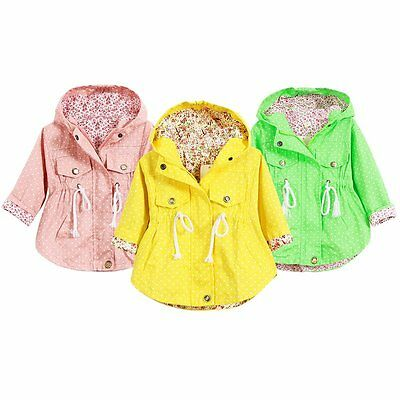 Casual Baby Kids Girl Polka Dot Long Sleeve Hoodies Hooded Coat Jacket Outerwear