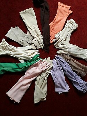 13 Pairs Vintage Coloured Gloves 1950s 60s