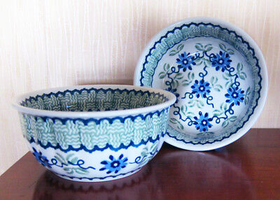 Boleslawiec Polish Pottery Soup / Cereal  Bowl Set of 2  Green Flower, 16oz NEw