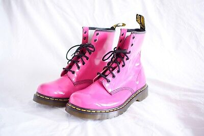 Dr Martens 1460W - Genuine Hot Pink Shiny Leather Boots Aw501 - Uk 8 / 42 Eu