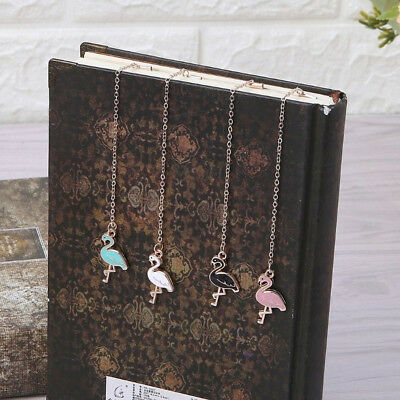 1Pc Cute Flamingo Pendant Bookmark Chain Tool Gift Student Stationery Marker Sup