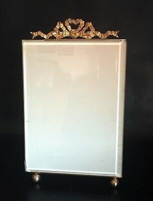Large French Antique Nap III Brass & Bevelled Glass Photo/Picture Frame