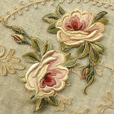 Antique Silk Embroidered Roses Appliques