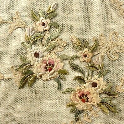 Antique Silk Embroidered Floral Appliques