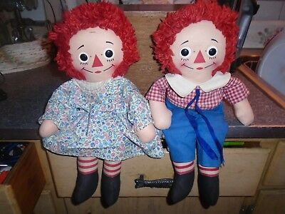 Vintage Knickerbocker pair of Raggedy Ann and Andy dolls, 1960s