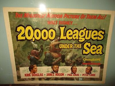 "VINTAGE MOVIE POSTER Kirk Douglas 20,000 LEAGUES UNDER THE SEA (28"" x 22"" )"