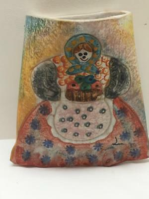 RARE Vintage Hand Painted Italica Ars WALL POCKET Hand Painted Italy Art Pottery