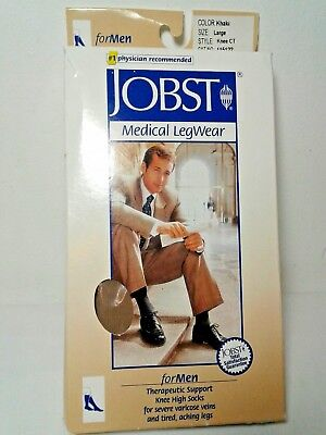 New JOBST Medical 30-40 Khaki Large Knee Therapeutic compression ribbed sock Men