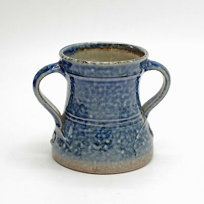 TOFF MILWAY (Conderton Pottery) Blue Salt Glazed Two Handled Mug / Cup