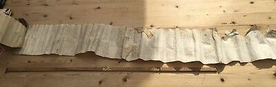 An Interesting Antique 16th Century Hand Written Document, Hand Stitched, Scroll