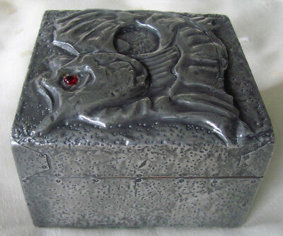 Original antique Arts and Crafts Newlyn style pewter Box with fish design on lid